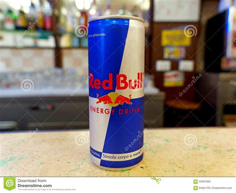 bull energy can of bull energy drink on a bar counter ready to be served editorial stock photo image