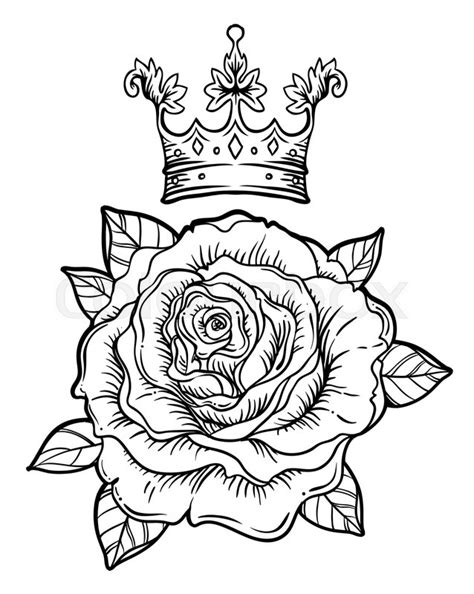 Blackwork tattoo flash with rose. Rose flower. Highly detailed vector illustration isolated on