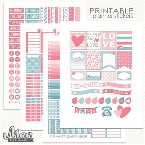 Valentines day vectors, psd, icons: SWEET Love planner stickers.Valentines day stickersEClp