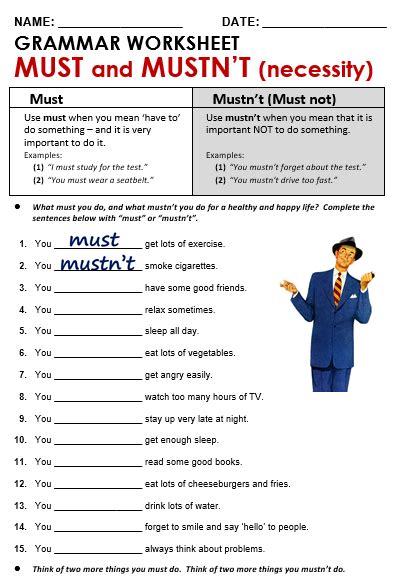 worksheets must mustn t must necessity all things grammar