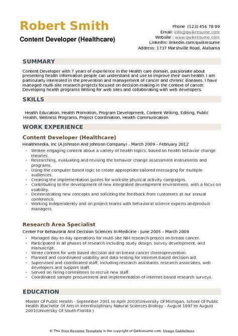 content developer resume sles qwikresume
