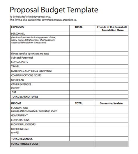 Budget Proposal Template Doliquid