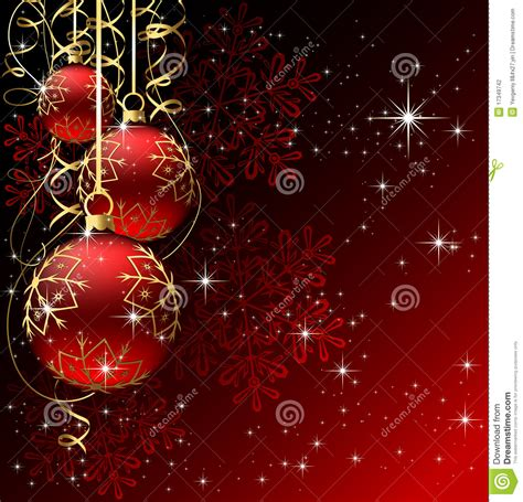 winter background  red christmas balls stock