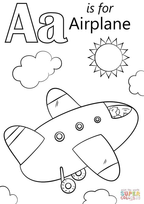 Letter A is for Airplane coloring page from Letter A