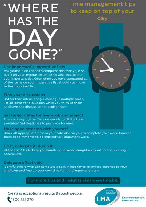effective time management tips poster guide