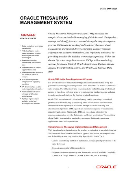 oracle thesaurus management system tms