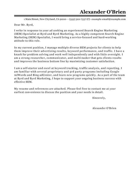 How To Write A Marketing Cover Letter by Leading Professional Sem Cover Letter Exles Resources