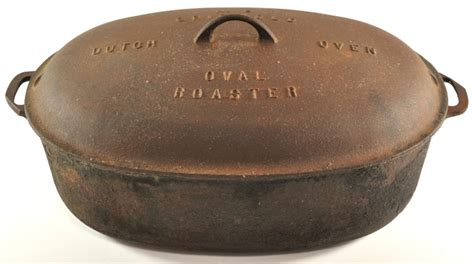 griswold cast iron   dutch oven large oval roaster  ebay