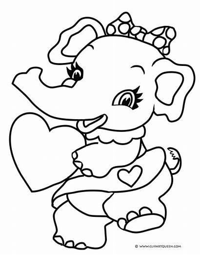 Coloring Valentine Valentines Pages Heart Elephant Sheet