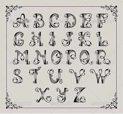 Alphabet Calligraphic Alfabet Lettering Swirly Alfabeto Letters