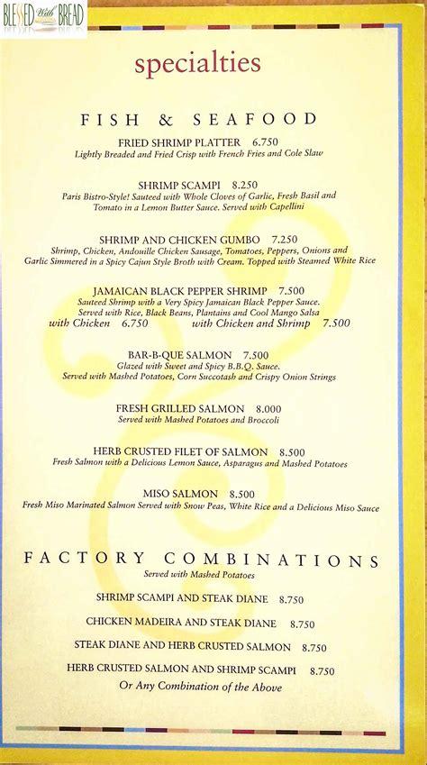 Cheesecake Factory Kuwait Menu Card