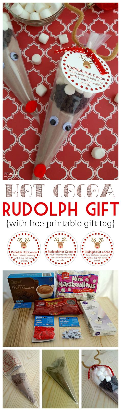 rudolph hot cocoa  printable gift tag