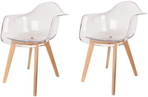 chaises transparentes pas cher lot de 2 chaises scandinaves avec accoudoir transparentes