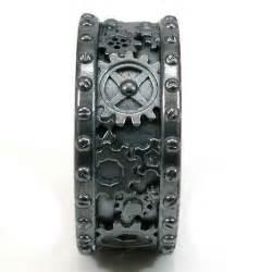 mens cheap wedding bands steunk black silver gear ring steam wedding ring