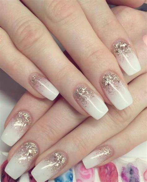 verlauf glitzer naegel weiss pink wedding nails white