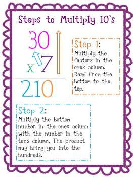 multiplication practice  strategy posters facts