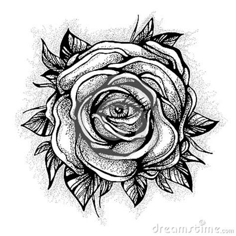 blackwork tattoo flash rose flower highly detailed