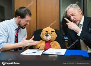 Business People Complaining To Teddy Bear