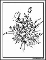 Coloring Pages Flower Bouquet Flowers Wildflower Printable Daisy Pdf Butterfly Adults Wild Wildflowers Vase Designs Embroidery Drawn Japanese Template Customize sketch template