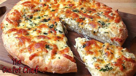 garlic pizza cheesy garlic bread pizza one pot chef youtube