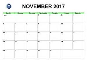November 2017 Calendar with Holidays Printable