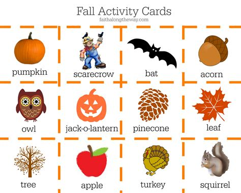 7 fall educational activities for preschoolers 489 | Fall Activity Cards faithalongtheway.com