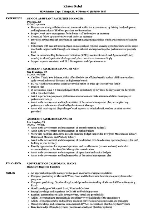 Facility Manager Resume by Assistant Facilities Manager Resume Sles Velvet