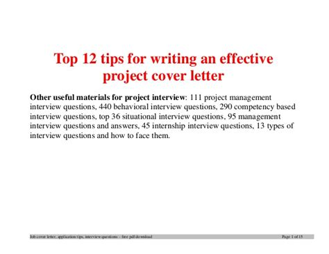 Tips For Writing A Cover Letter For A Resume by Top 12 Tips For Writing An Effective Project Cover Letter