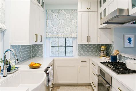 fish tiles kitchen white and blue kitchen with blue fish scale tile 3752