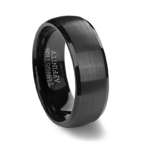 black brushed domed mens tungsten wedding ring black