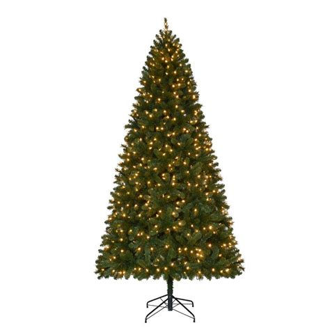 home accents holiday 9 ft pre lit led wesley spruce quick set artificial christmas tree with