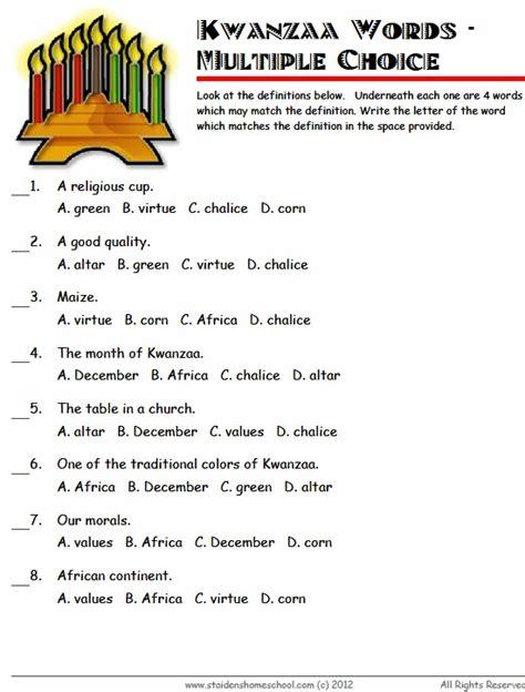 kwanzaa worksheet choice kwanzaa printables
