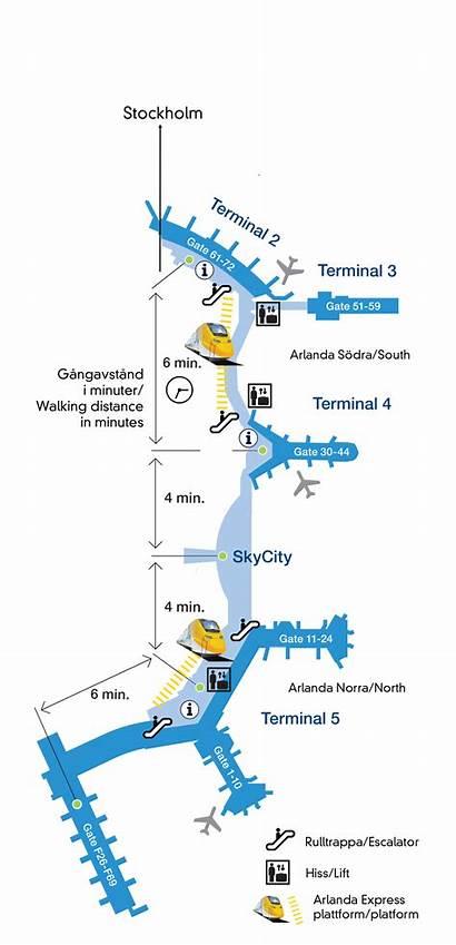 Arlanda Airport Stockholm Map Terminals Express Link