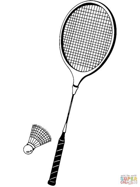 Kleurplaat Badminton by Shuttlecock And Badminton Racket Coloring Page Free