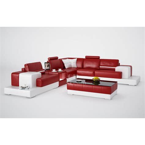canapé l canapé d 39 angle design en cuir pino l table intégrée