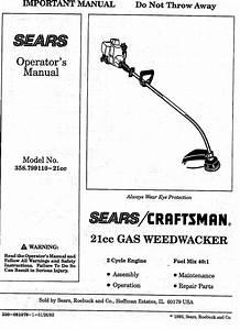 Craftsman 358799110 User Manual Weedwacker Manuals And