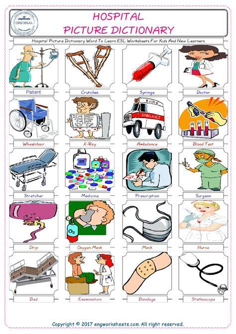 esl printable hospital english worksheets