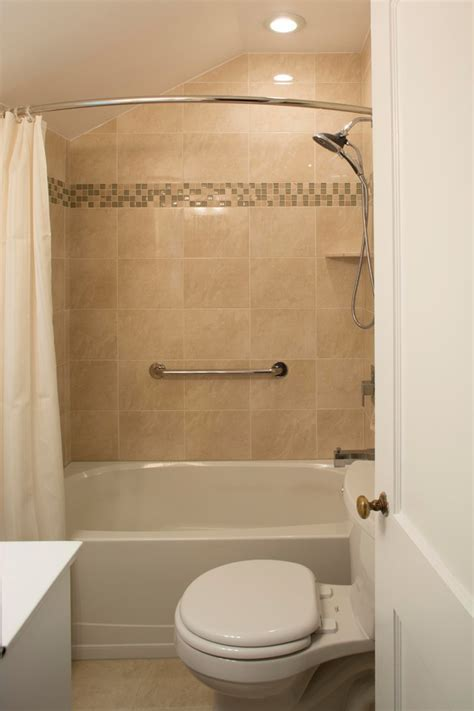 Curved Shower Glass. Cheap Interior White Toilet Beside