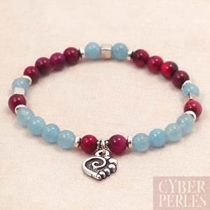 Bracelet Avec Elastique : exemple bracelet lastique avec breloque coeur cyberperles ~ Melissatoandfro.com Idées de Décoration
