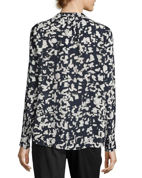 Lyst Vince Confetti Print Long Sleeve Silk Shirt