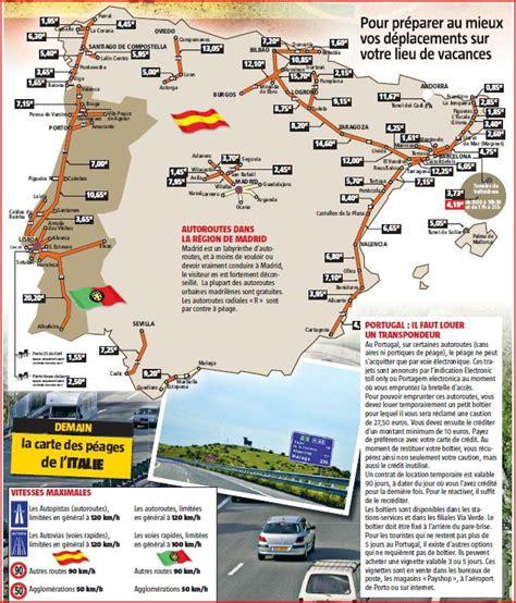 Carte Peage Espagne Portugal vacances la carte des p 233 ages en espagne et au portugal
