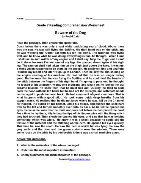 reading comprehension worksheets 7th grade reading
