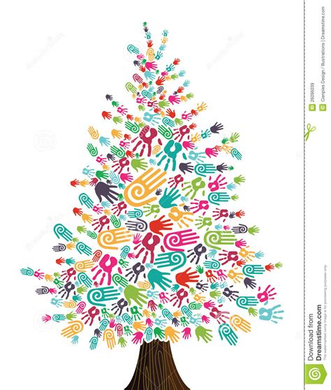 manos del 225 rbol de navidad de la diversidad aisladas