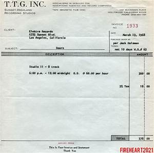 the doors official elektra documentation With recording studio invoice