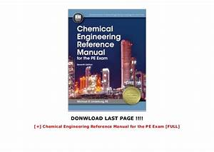 Chemical Engineering Reference Manual For The Pe Exam  Full