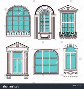 Set Of Illustrations With A Vintage Windows - 155187164 ...