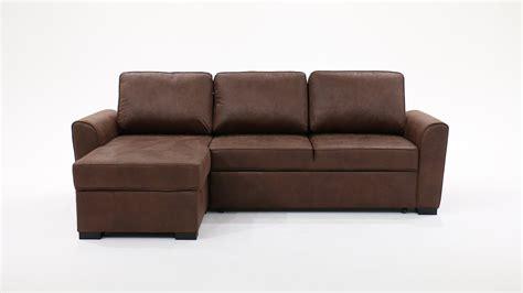 canapé du bout du monde canapé d 39 angle 3 4 places convertible aspect cuir vieilli marron montréal maisons du monde