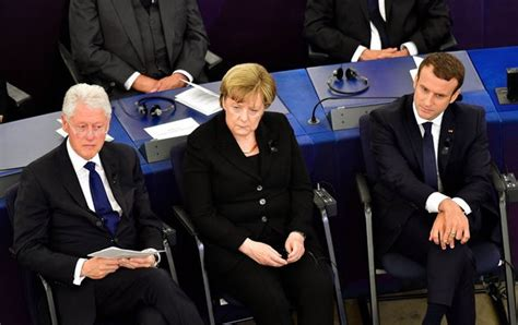 Photo Gallery Is Helmut Kohl Being Held Like Merkel Macron And Clinton Pay Respects To Former