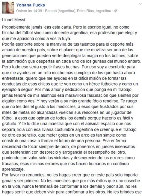 emocionante carta de uma professora argentina  messi