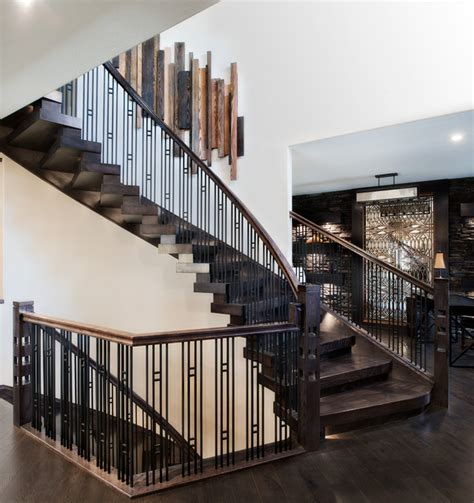 stacked blocks style curved stair contemporary